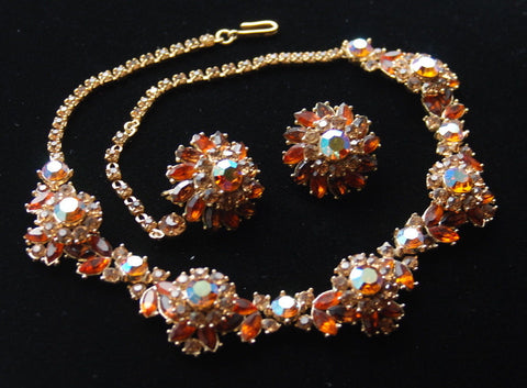 VTG TRIFARI AB Topaz Rhinestone Necklace Demi-Parure (set) - necklace- earrings