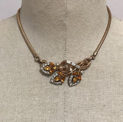 VINTAGE GORGEOUS RHINESTONE CROW TRIFARI FLOWER NECKLACE