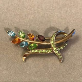 Monet multi color crystal brooch- Vintage Brooch