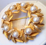 Vintage Faux Pearls Gold Tone Avon Brooch