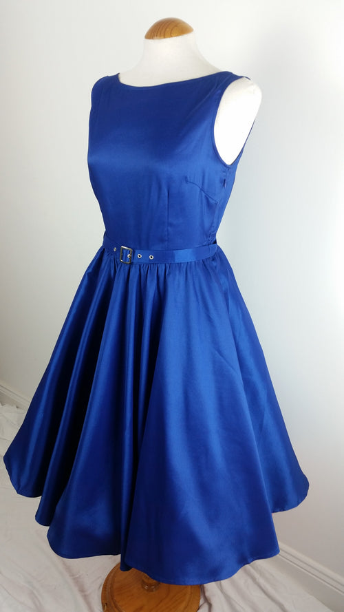 Audrey 50's style Blue Satin Evening Swing Dress