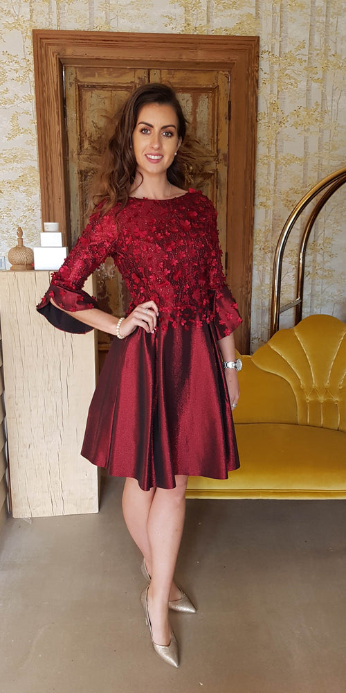 Sparkle Skater Dress Wine 3D Floral