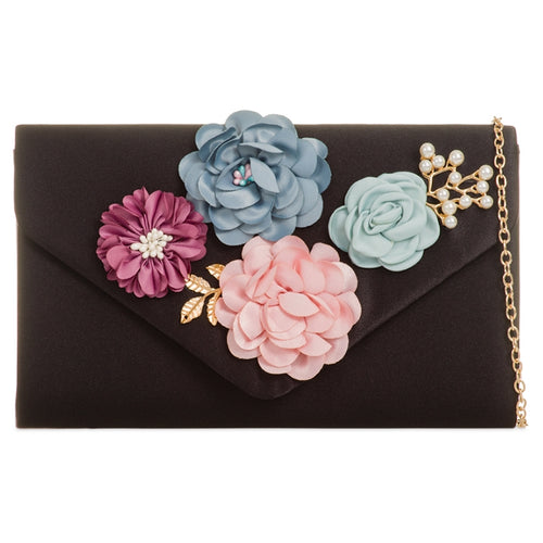 Black Satin 3D Floral Clutch