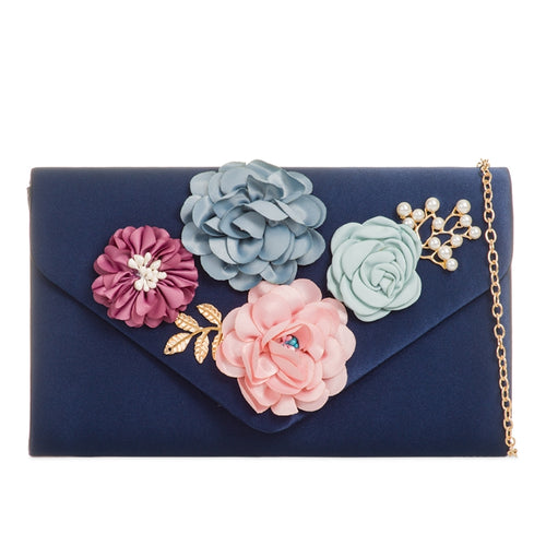 Navy Satin 3D Floral Clutch