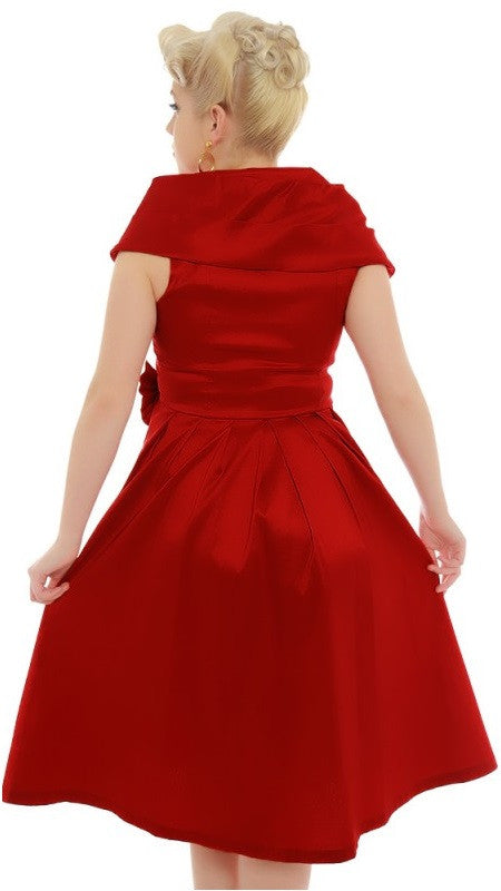 Amber Lea Red Taffeta Swing Dress