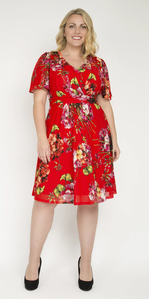 Amber Red Floral Mesh Dress