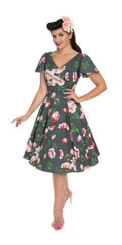 Eternity 50s Rose Print Dress - White