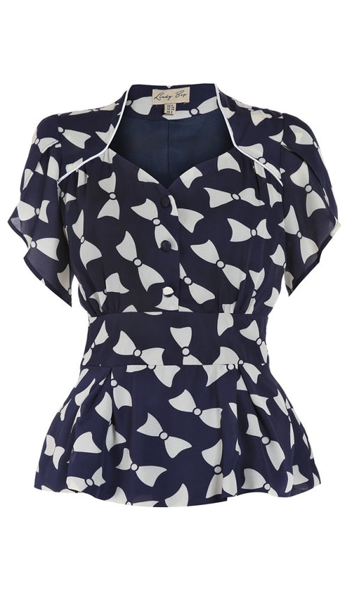 Angel Bow Print Navy Blouse