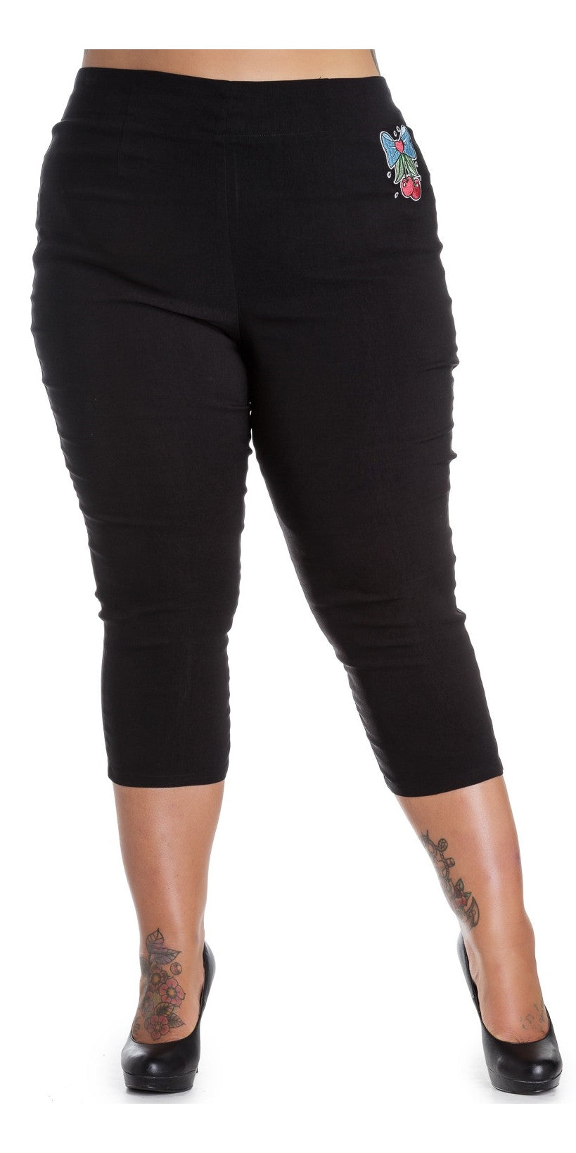 Anna Black Capris Pants 3/4 length Pedal Pushers