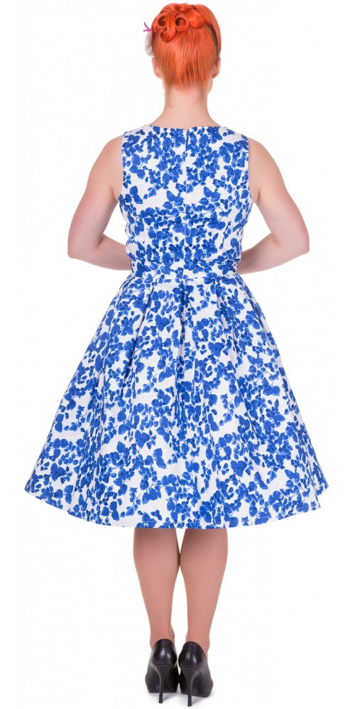 Annie Retro Floral Swing Dress (Blue)