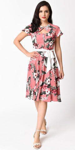 Amanda Polka Dot & Floral Swing Dress