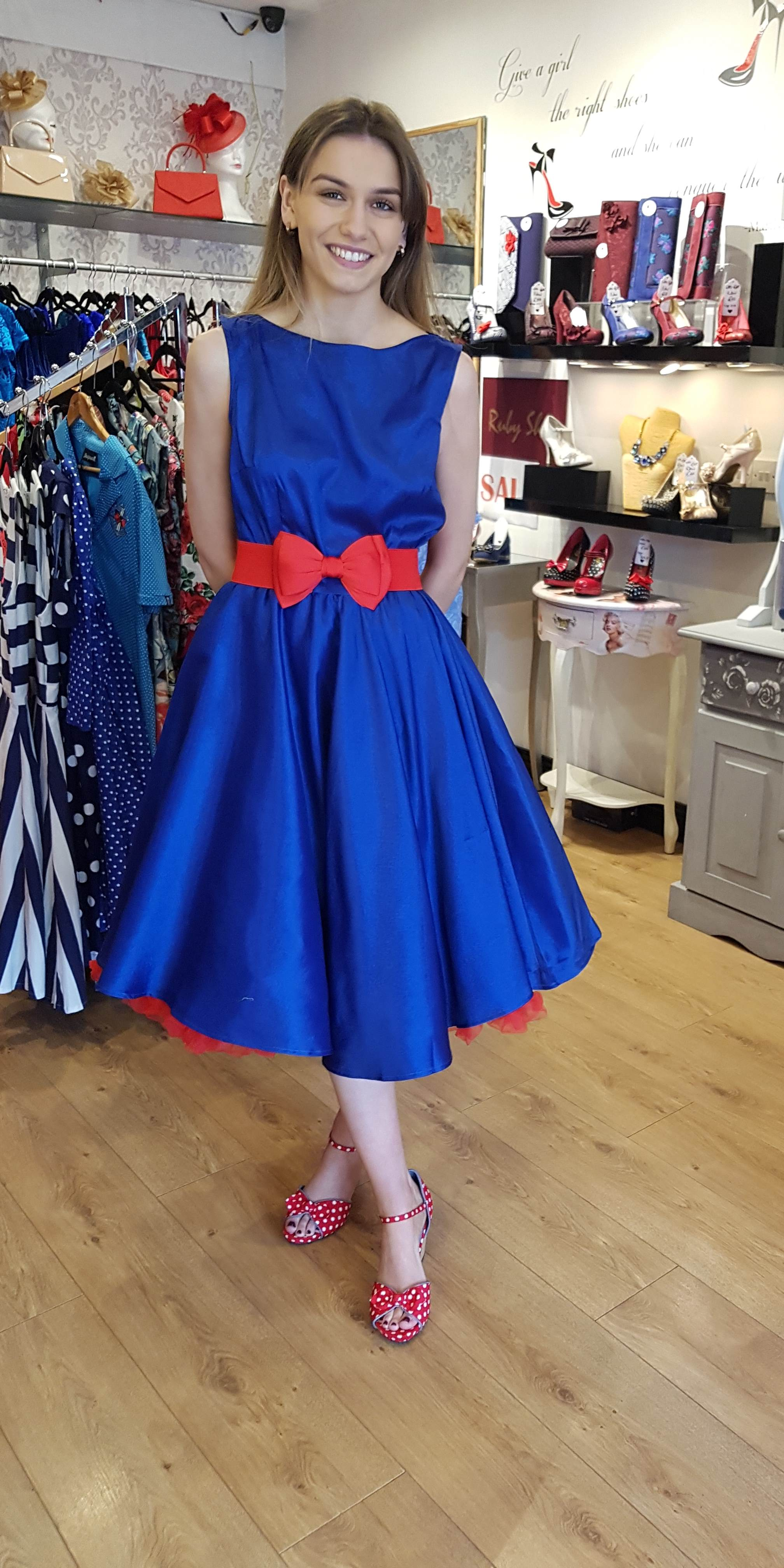 Audrey 50\u0027s style Blue Satin Evening Swing Dress