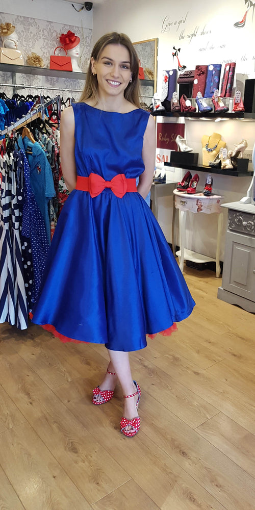 a8c62aad2b5c Audrey 50 s style Blue Satin Evening Swing Dress