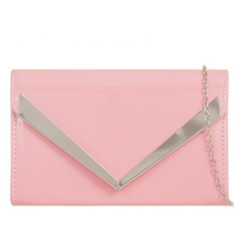 Patent Clutch Bag - Pink