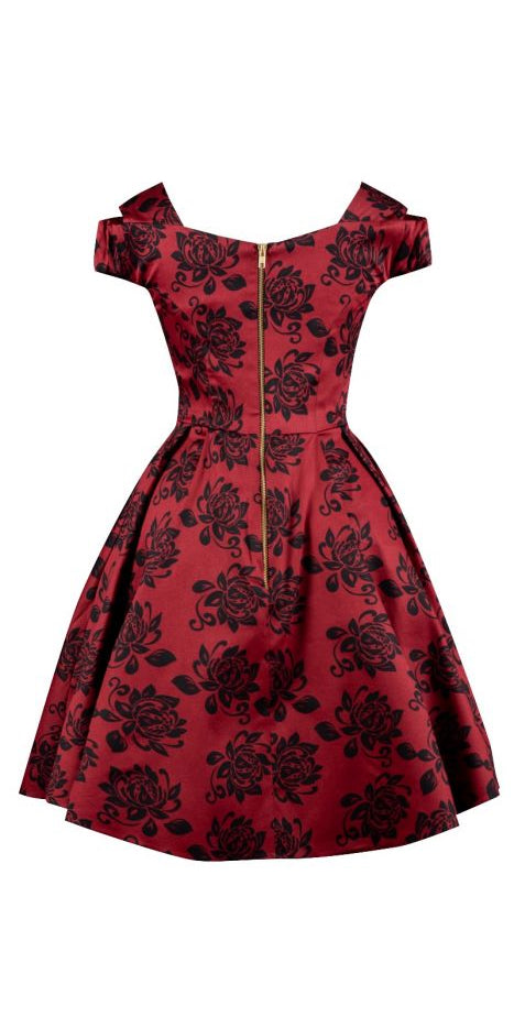 Elegant Floral Bardot Tea Dress