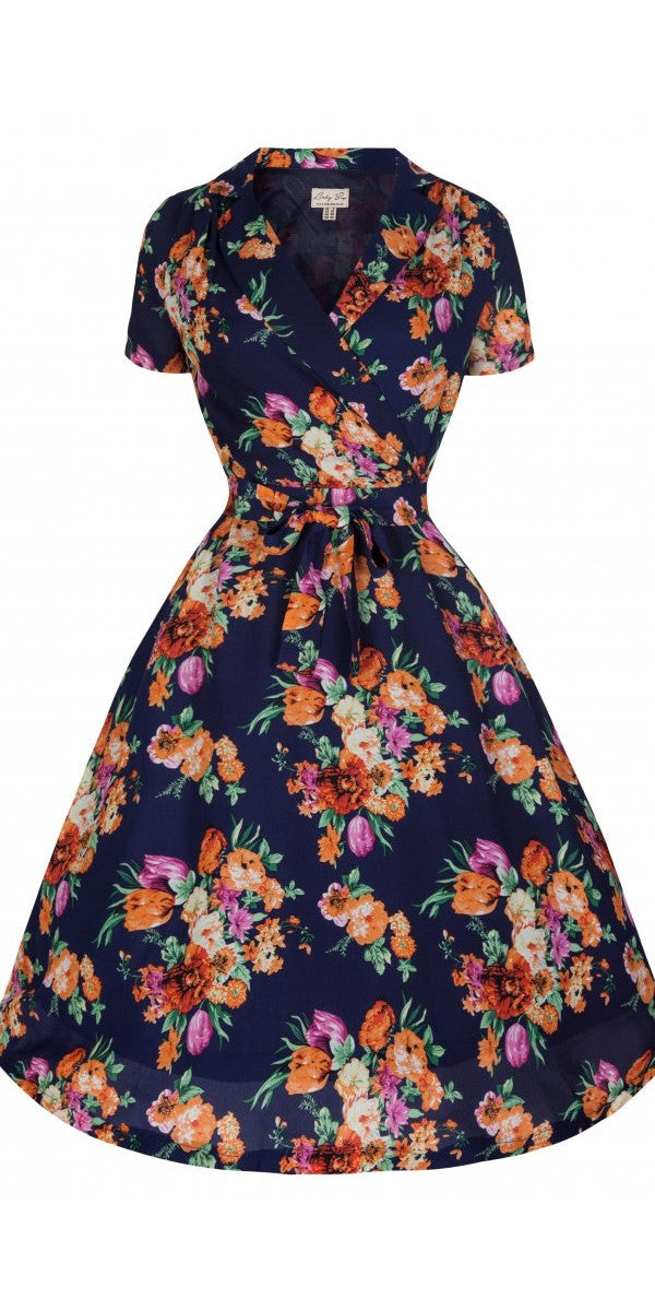 Beatrice Navy Summer Floral Tea Dress