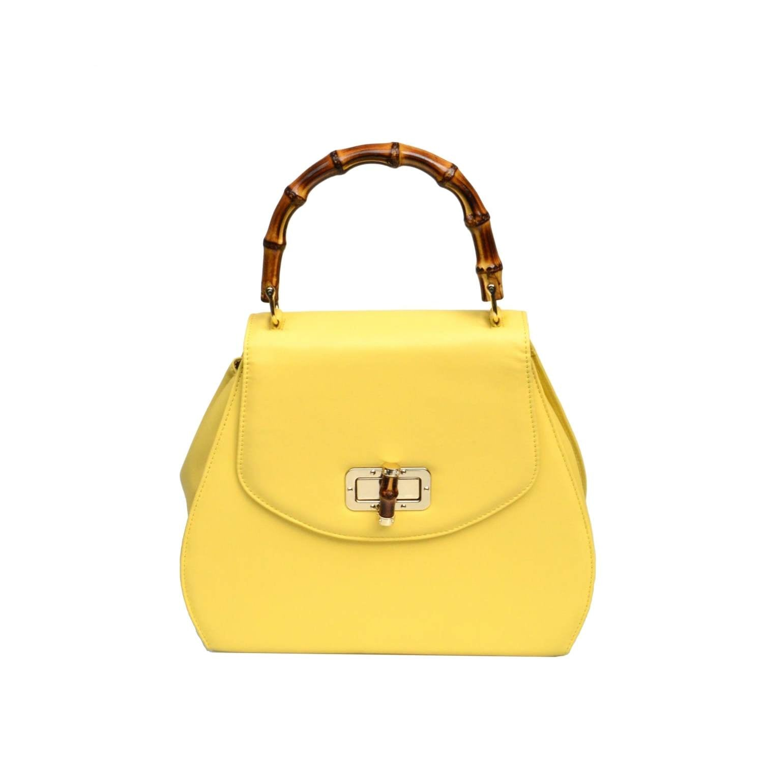 Bebe Bamboo Handle Handbag - Yellow