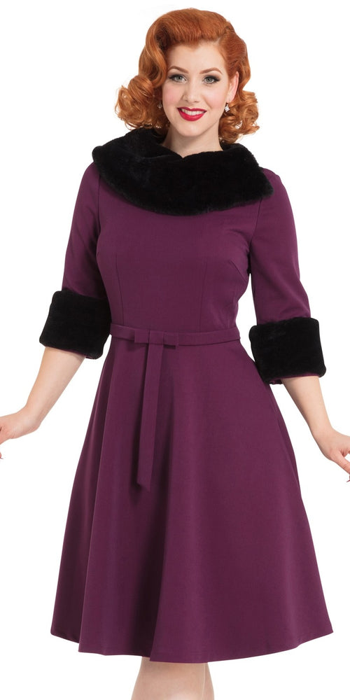 009d4d7f0a53 Belle Fur Collar Swing Dress