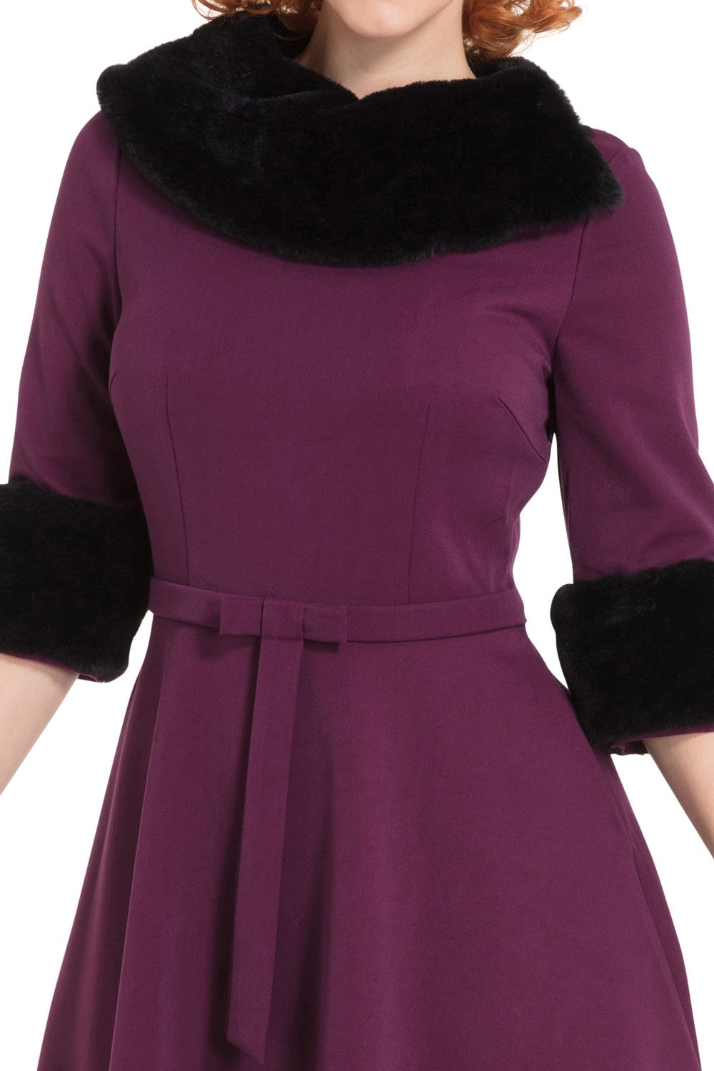 Belle Fur Collar Swing Dress