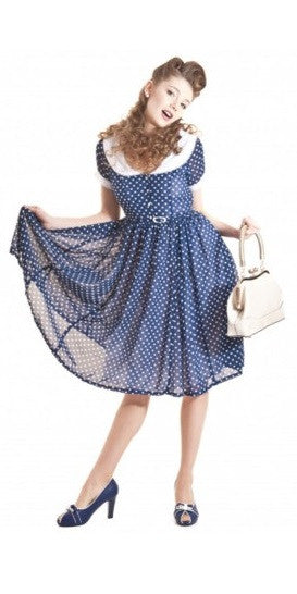 Betty Lou Navy Polka Dot Vintage Dress