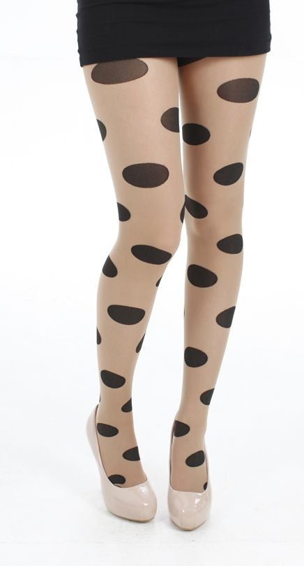 Big All Over Spots Sheer Tights Nude/Black