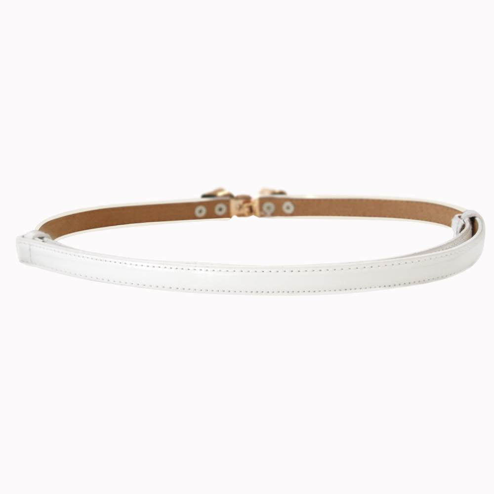 Bitter Sweet Patent Belt - White