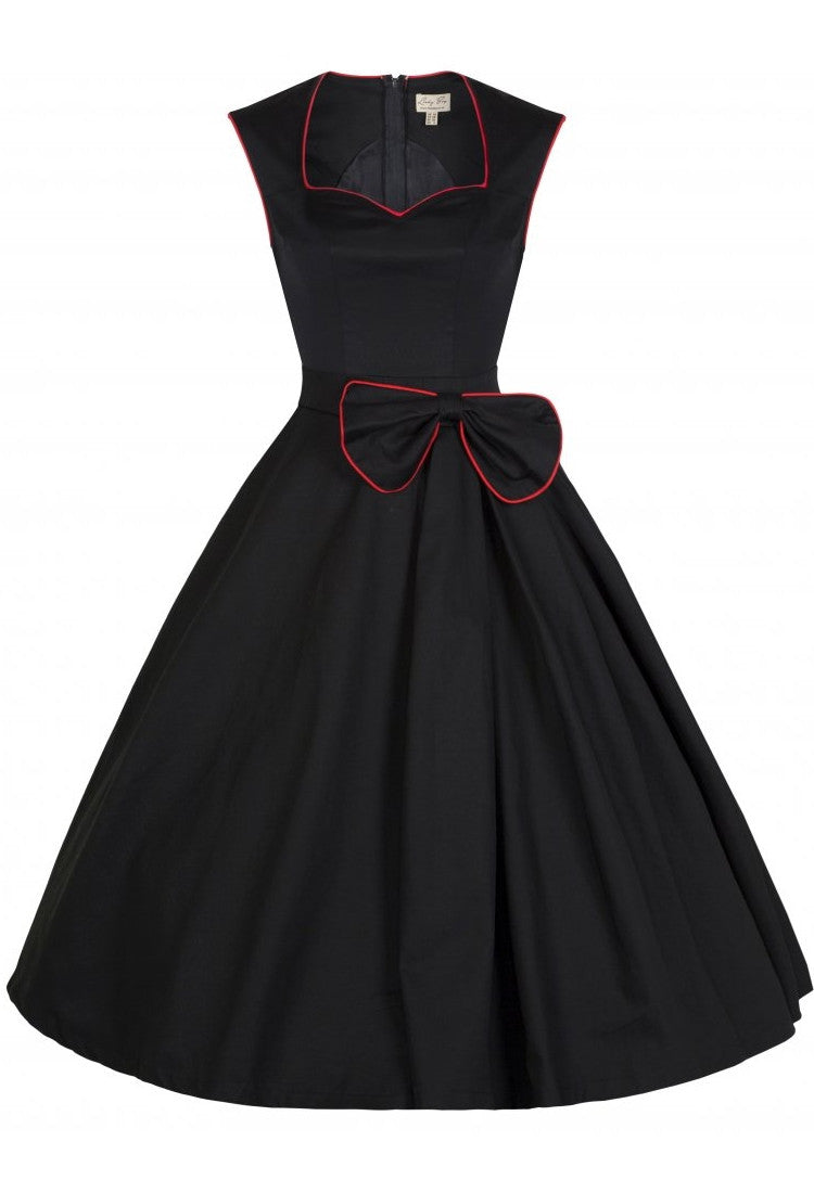 Classy Vintage Style Dress w/ Bow Detail (Black)