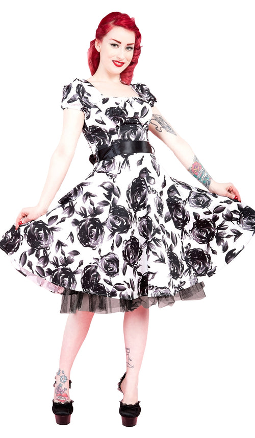 d1db34d64bb4a Black & White Vintage Floral Dress