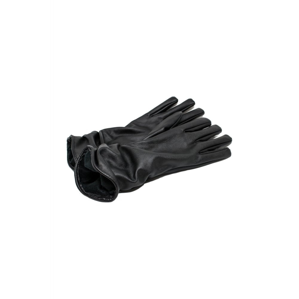 Ruched Faux Leather Gloves - Black