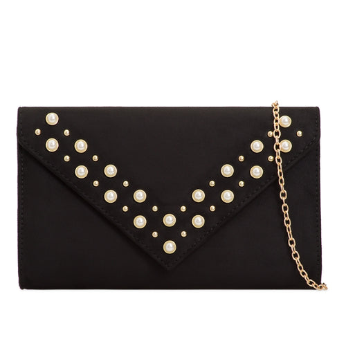 Pearl Embellished Suede Clutch - Black