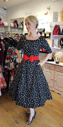 Delores Black & White Polka Dot Swing Dress