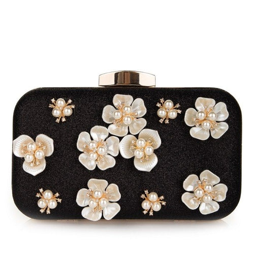 Black Evening purse with 3D Flowers and Pearls