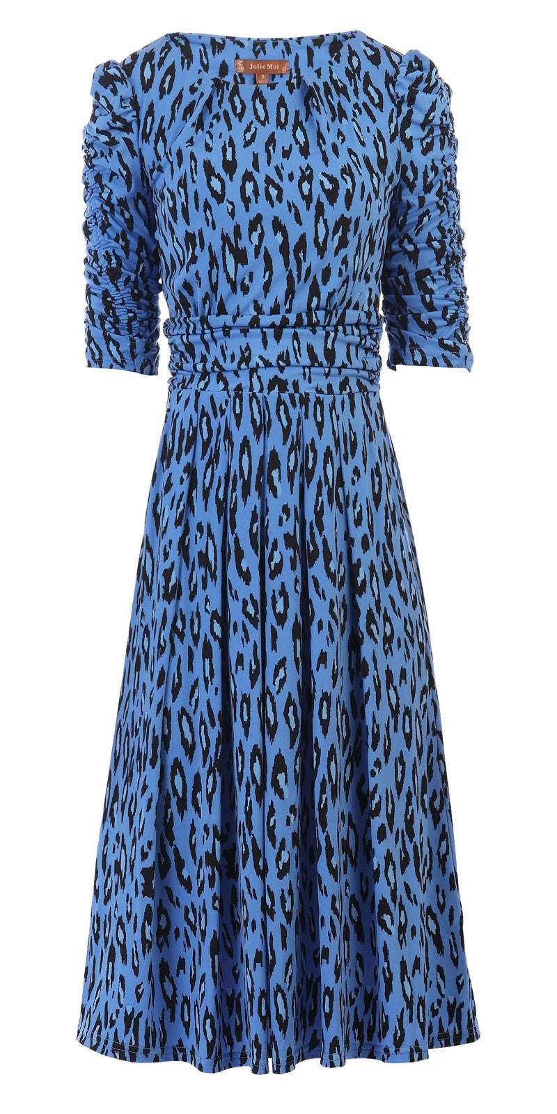 Caroline Blue Leopard Print Dress 3/4 Length Sleeves