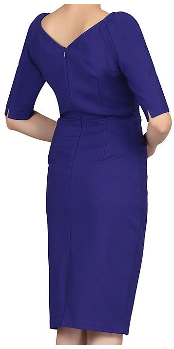 Royal Blue Ruched Wiggle Dress 1/2 Sleeves