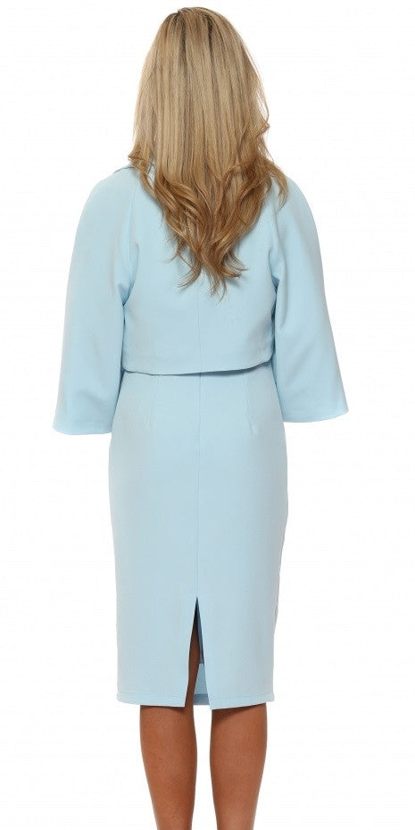 Cropped Jacket & Dress Suit - Powder Blue