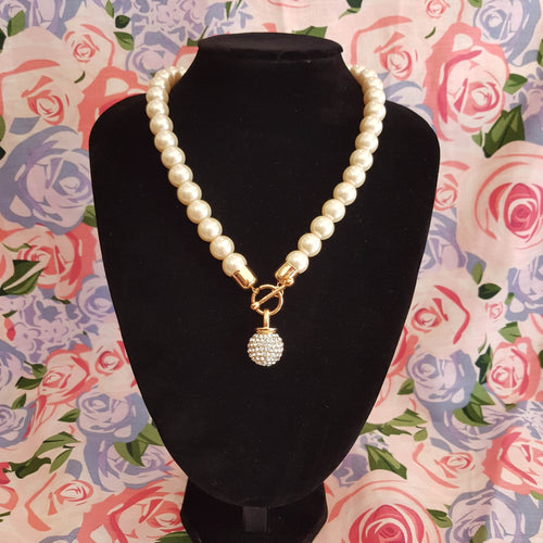 Blush Pink Pearl with Diamante Pendant