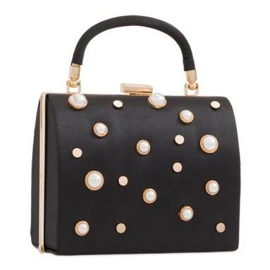 Box Bag Black with Pearl Detail
