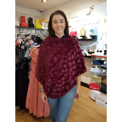 Wine Poncho - Soft Faux Fur