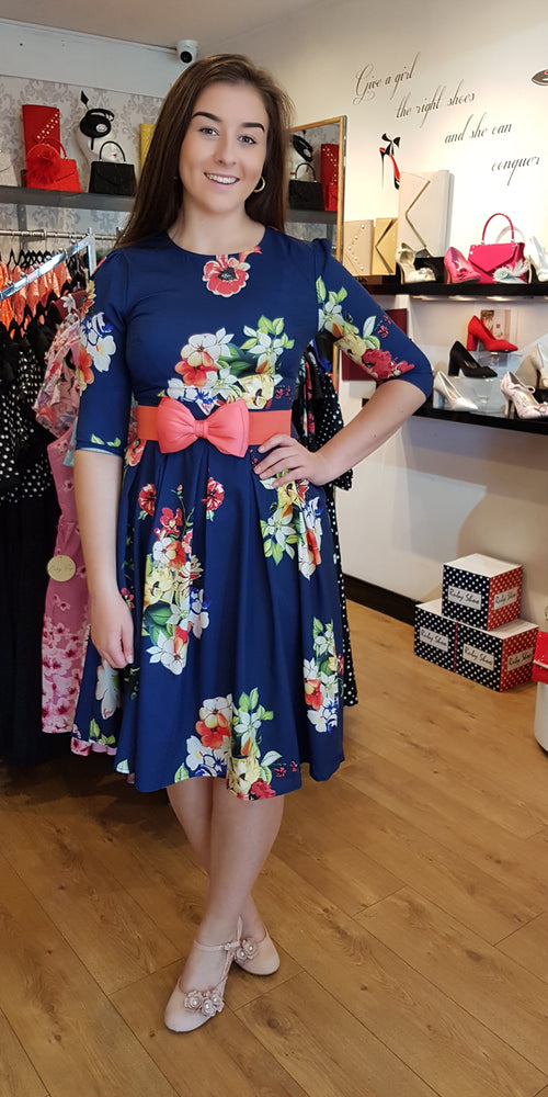 Carla Navy Floral Swing Dress