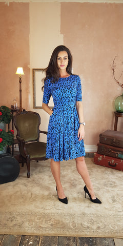 Delores Navy Floral Print Swing Dress
