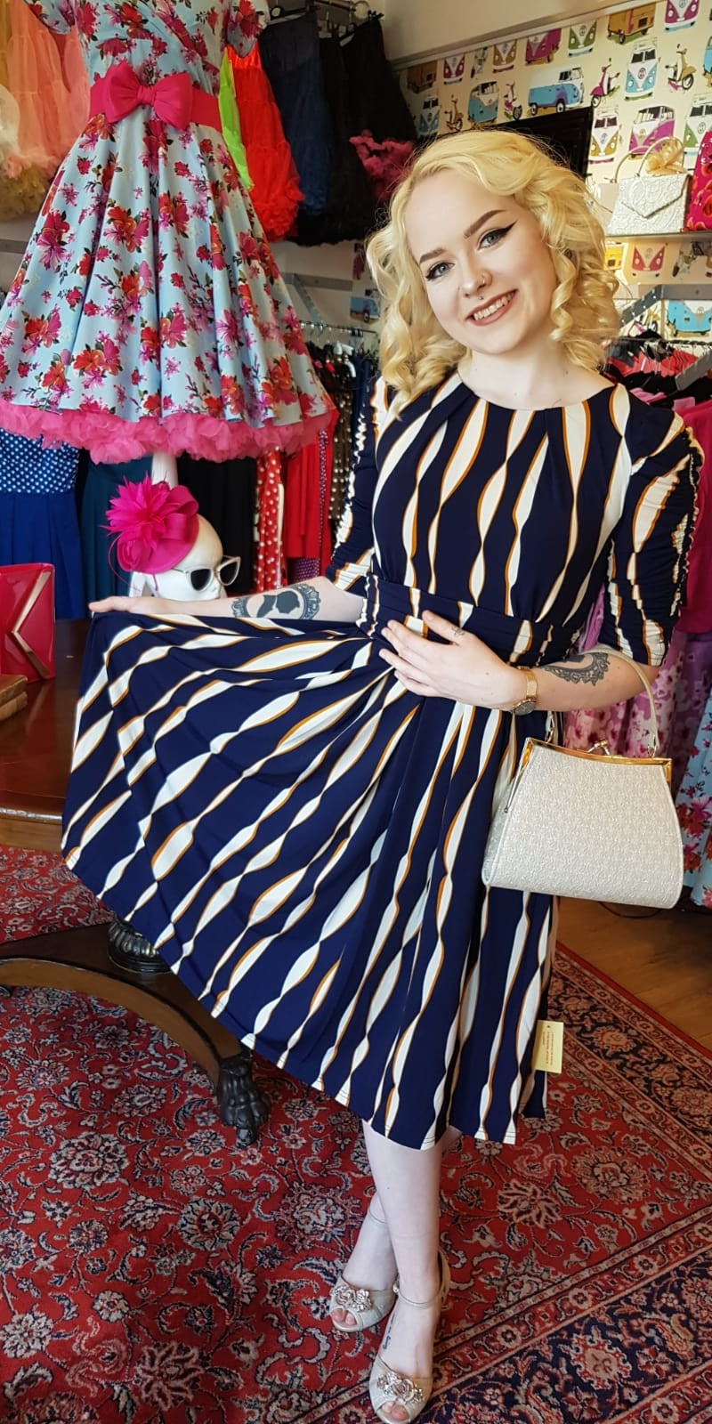 Caroline Navy Striped Half Sleeve Dress