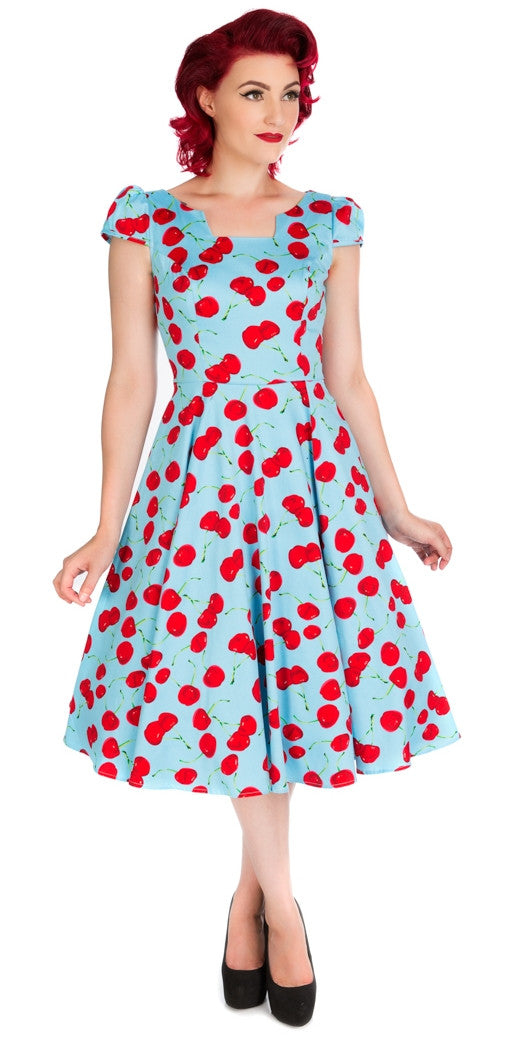 Cherry Blue Bombshell Swing Dress