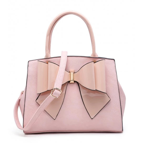 Chic Handbag with Bow - Pink