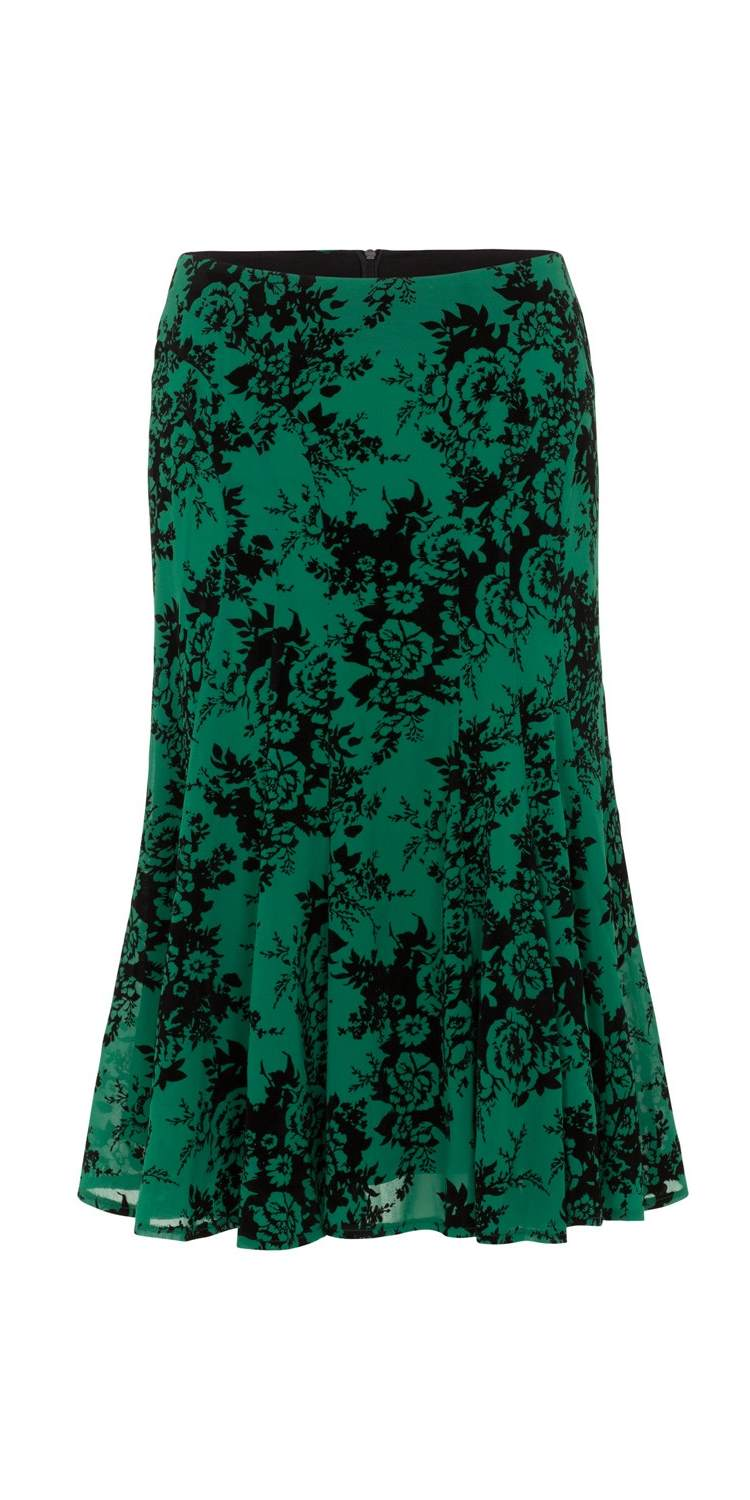 Chloe Black & Green Rose Print Skirt