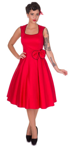 Audrey 50's style Red Satin Evening Swing Dress
