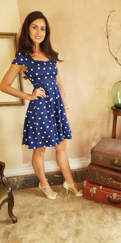 Kate Gold Leaf Print Dress (Blue)