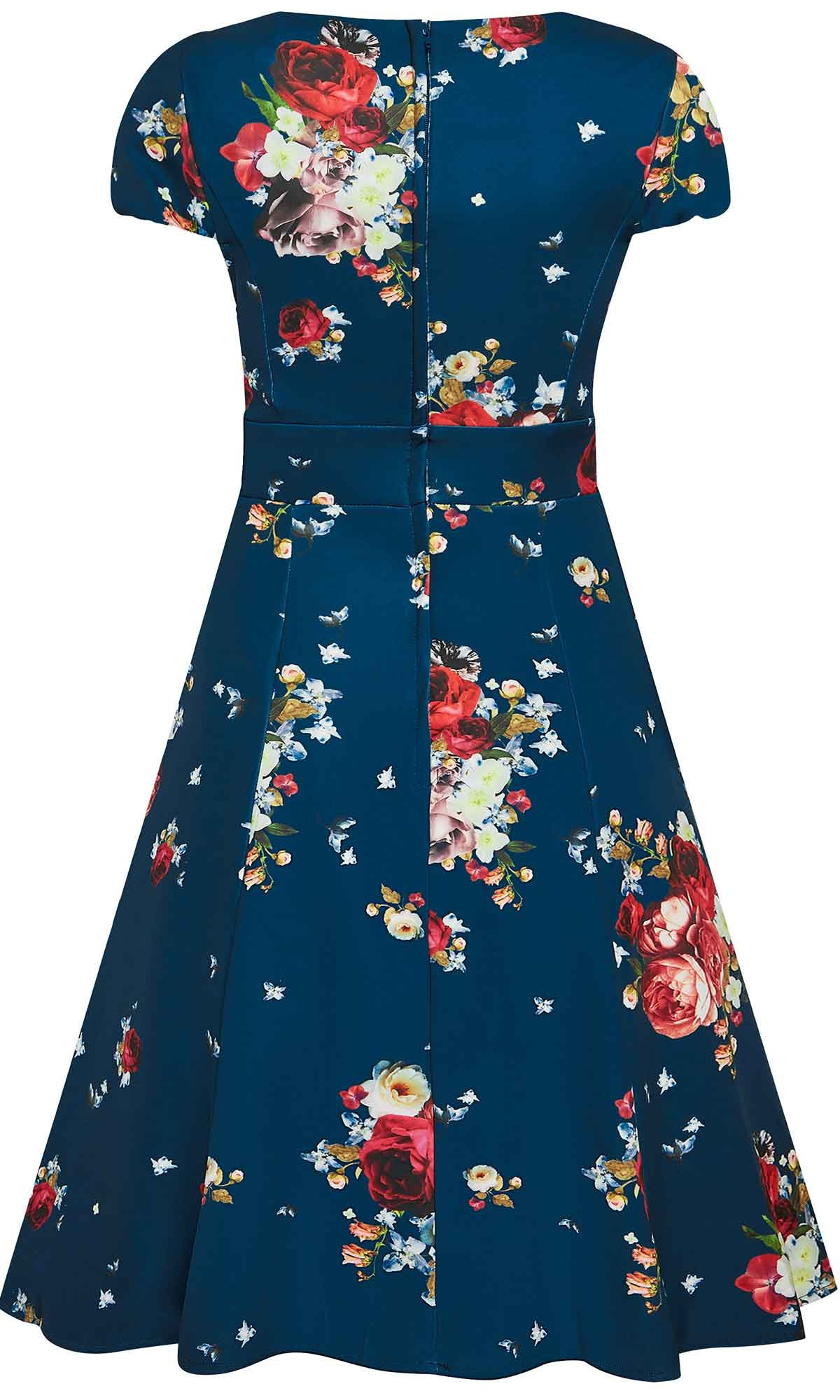Claudia Teal Floral Swing Dress