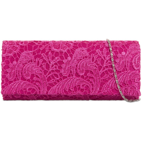 Satin Clutch Bag with Lace Overlay - Fuchsia