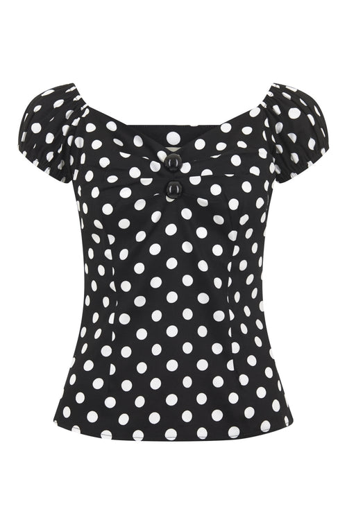 Dolores Top - Black & White Polka Dots