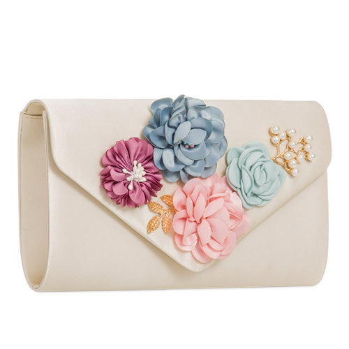 Gold Satin 3D Floral Clutch